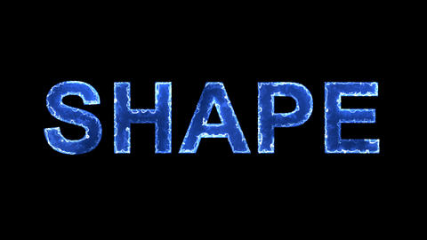Blue lights form luminous text SHAPE. Appear, then disappear. Electric style Animation