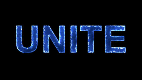 Blue lights form luminous text UNITE. Appear, then disappear. Electric style Animation