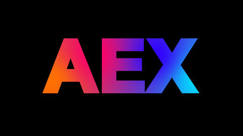 World stock index AEX multi-colored appear then disappear under the lightning Animation