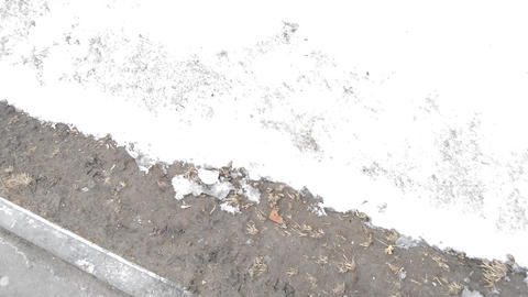 Dirty melted snow, thawed patches of black earth in city Park, spring blurred Footage