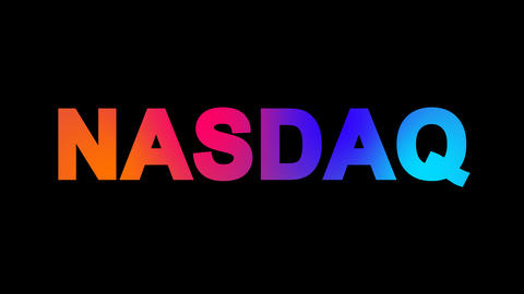 World stock index NASDAQ multi-colored appear then disappear under the lightning Animation