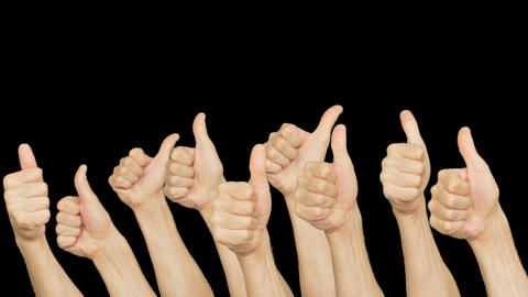People crowd group showing thumb up on green chroma key background. Human hand Footage