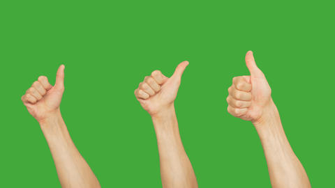 Set of 9 different hands showing thumb up on green chroma key background. Voting Footage