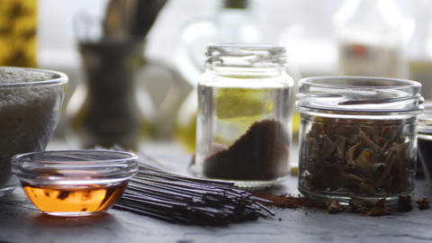 Red rice vinegar, rice and rice noodles on the table. Asian cuisine. Video Footage