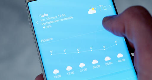 Weather Forecast Application on Smartphone Live Action