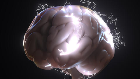 Sparks over human brain. Ideas or brainstorm related conceptual animation ビデオ