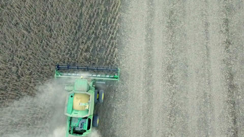 Aerial view of harvester machine working Live Action