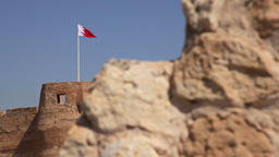 Arad Fort. Ancient wall and Flag. Camera Movement. Bahrain Footage