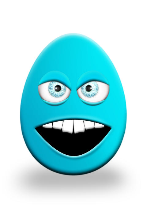 Easter Egg With Eyes and Mouth Feeling Angry 3D Illustration Fotografía