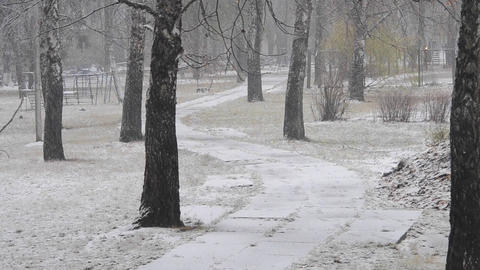 snowfall in the city and the meandering path Footage