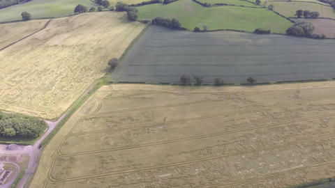 Aerial View Moving Backwards Over Welsh Farm Land in Hawarden Live Action