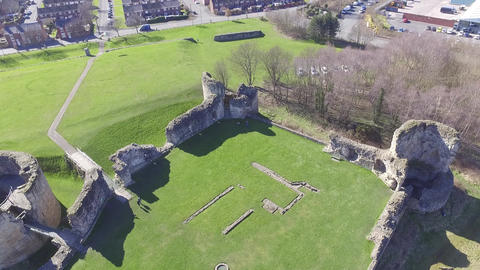 Flint Castle, North Wales Fly Over on a Bright Spring Day Footage