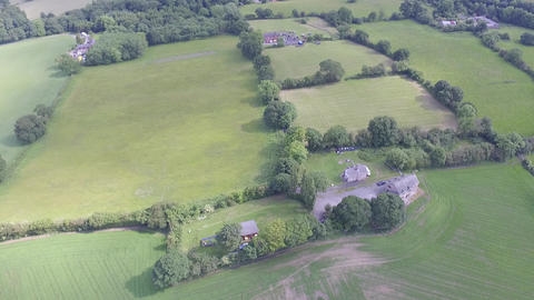 Flying Over Green Welsh Fields Close to Hawarden in North Wales Footage