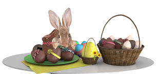 Cute bunny make an effort above table and looking to the easter eggs Photo