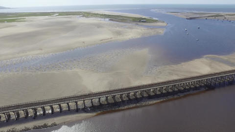 Aerial Shot Looks Out to Sea Over the Barmouth Viaduct Footage
