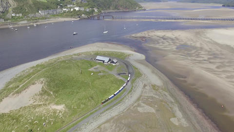 Aerial Shot of the Fairbourne Narrow Gauge Railway Live Action