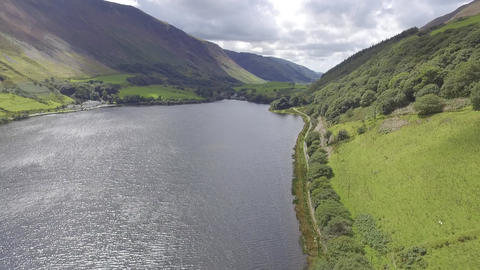 A Slow Forward Moving Aerial Shot of Tal-y-Llyn Lake Live Action