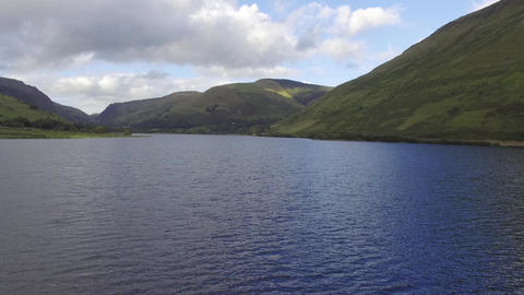 A Close to the Water Aerial Shot of Tal-y-Llyn Lake Live Action