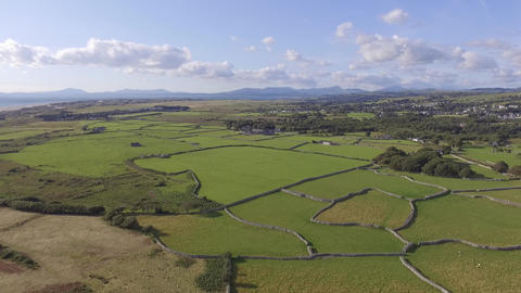 Green Fields and Distant Mountains in Wales Footage
