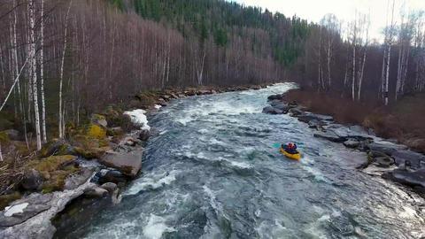 Kayaking: Rafting: Extreme rafting on a mountain river (Siberia) Footage