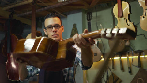 2 Man Lute Maker Artisan Checking Classical Guitar Footage