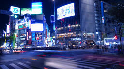4K Time Lapse Shibuya scramble crossing Night shots Footage