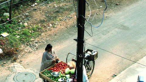 woman buy vegetables, vendors selling vegetables on street Footage