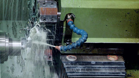 Metalworking CNC milling machine. Cutting metal modern processing technology Live Action