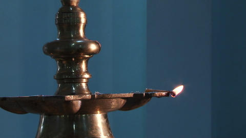 Close up Traditional south indian brass oil lamp Live Action