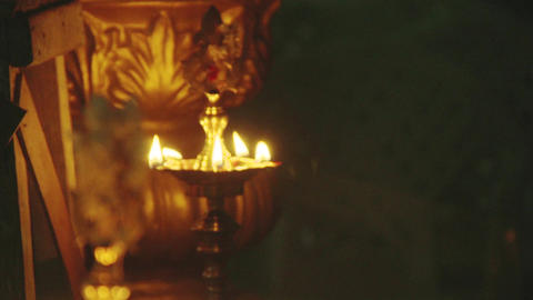 Traditional south indian brass oil lamp 'Nilavilakku '. During events like Footage