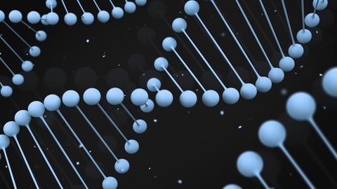 Matt blue model of DNA strand on black background Animation
