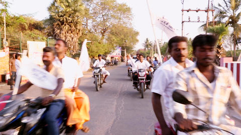 political rally in the streets of india. general election is scheduled, A lot of Live Action