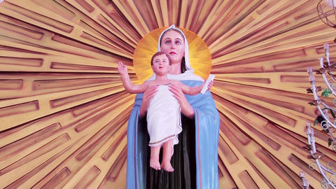 Close-up of Blessed Virgin Mary and Jesus statue. Mother Mary With Child Jesus Footage