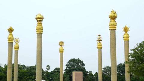 Closeup shot War Memorials in Chennai at India. Rajiv Gandhi Memorial - Rajiv Footage