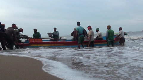 Fishers pull out baskets of fish from the boat Footage