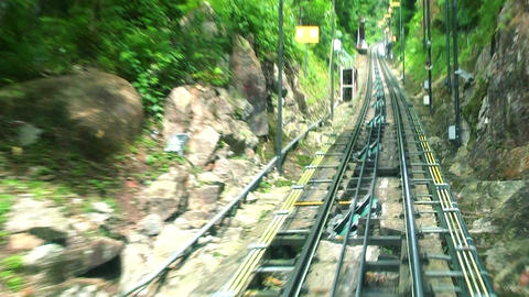 POV time lapse of Penang Hill Ride on cable car, Georgetown, Malaysia Live Action
