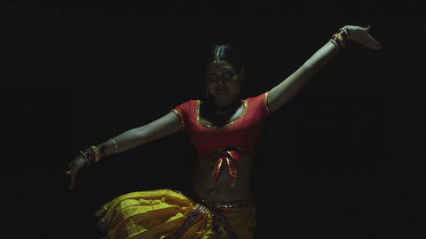 Indian young girl dancers performing traditional dance in the Indian cultural Footage