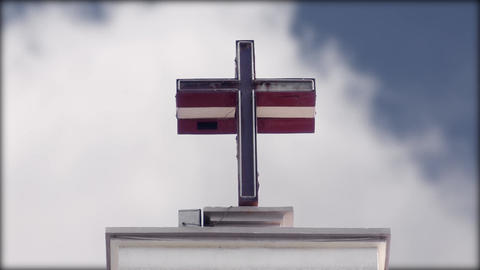 The Cross subtle blue sky passing clouds, day effects Footage