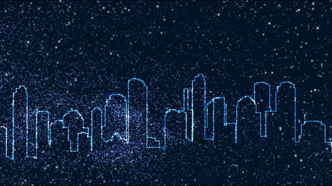 City outline wStarts HD Animation