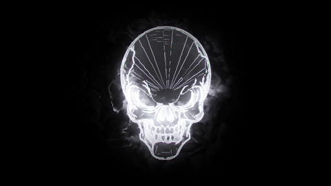 White Burning Skull Animated Logo Loopable Graphic Element V1 Animation