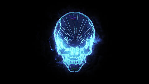 Blue Burning Skull Animated Logo Loopable Graphic Element V1 Animation