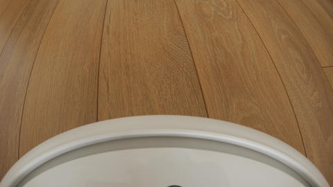Robot vacuum cleaner on floor, Smart robotic automate wireless cleaning Footage