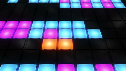 Colorful Disco nightclub dance floor wall glowing light grid background vj loop Animation