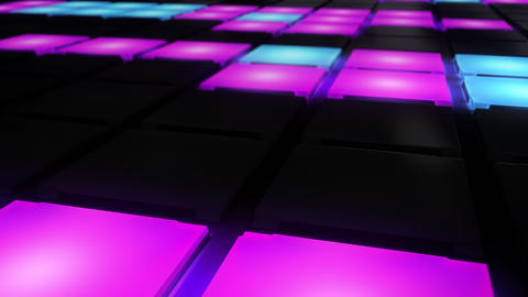 Colorful Disco nightclub dance floor wall glowing light grid background vj loop CG動画素材