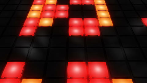 Colorful Disco nightclub dance floor wall glowing light…, Stock Animation