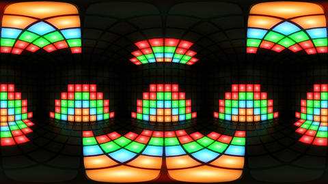 360 VR Colorful disco nightclub dance floor wall light grid background vj loop Animation