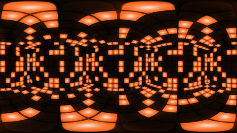 360 VR Orange disco nightclub dance floor wall light grid background vj loop Animation
