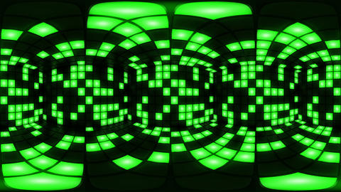 360 VR Green disco nightclub dance floor wall light grid... Stock Video Footage