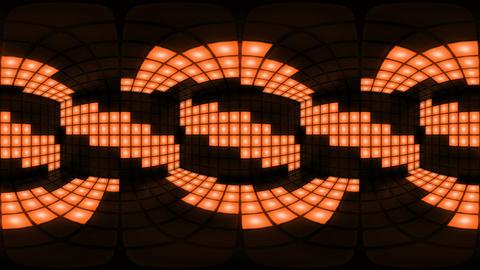 360 VR Orange disco nightclub dance floor wall light grid... Stock Video Footage
