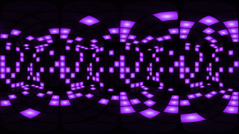 360 VR Purple disco nightclub dance floor wall light grid... Stock Video Footage